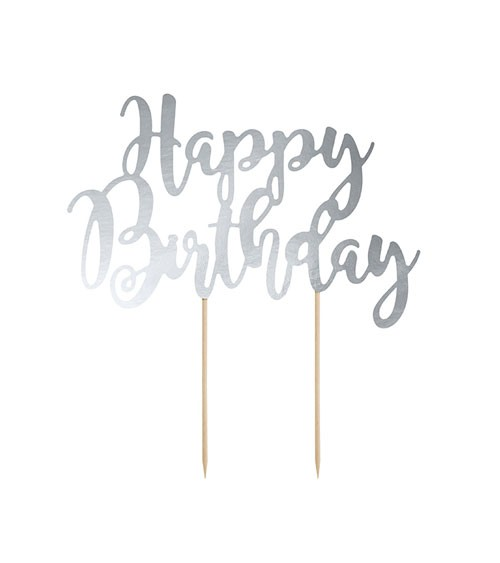 "Tortenstecker aus Papier ""Happy Birthday"" - silber metallic"