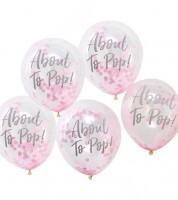 "Transparente Ballons mit pinkem Konfetti ""About to Pop"" - 5 Stück"