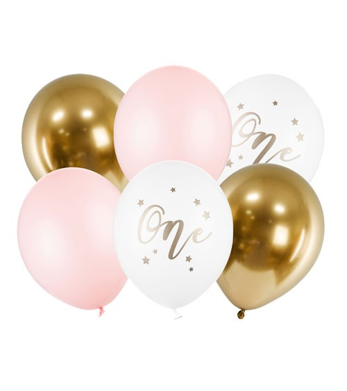 "Luftballon-Set ""One"" - rosa - 6-teilig"