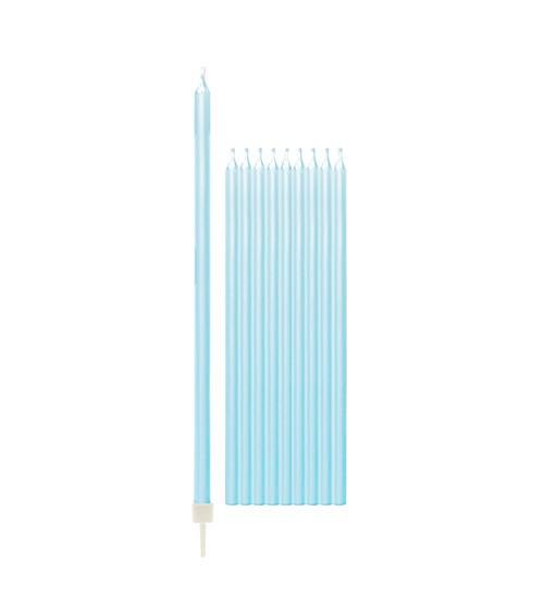 Lange Kuchenkerzen - perlmutt hellblau - 15,5 cm - 10 Stück
