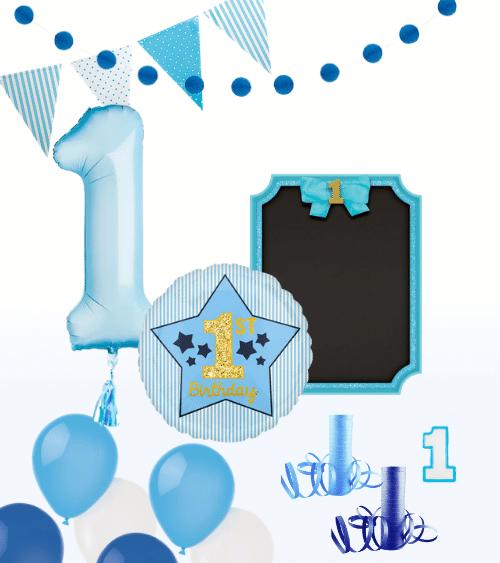 Foto-Set 1. Geburtstag Junge - 16-teilig
