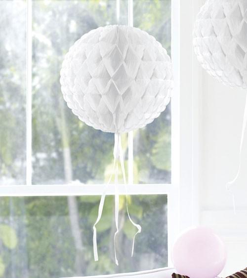 Wabenball mit Tasseln - 30 cm - weiß