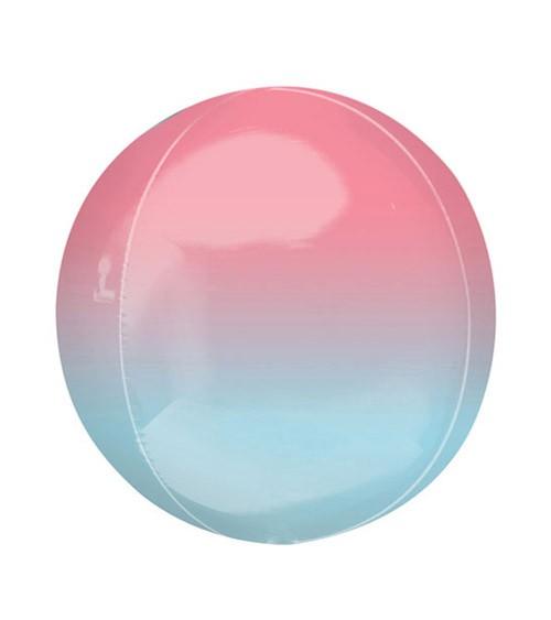 "Orbz-Folienballon ""Ombre"" - rosa-hellblau - 38 x 40 cm"