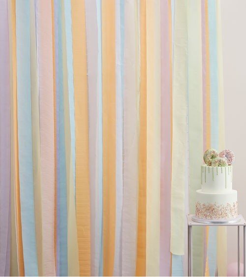 Streamer Backdrop - Farbmix Pastell - 5-teilig