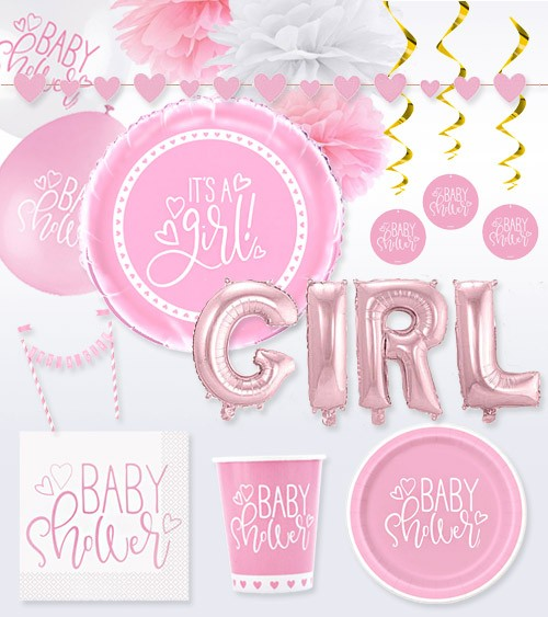 "Deko-Set ""Baby Shower"" - rosa - 55-teilig"