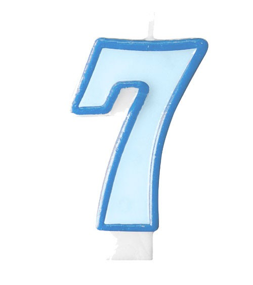 """Geburtstagskerze """"7"""" - hellblau/dunkelblau"""