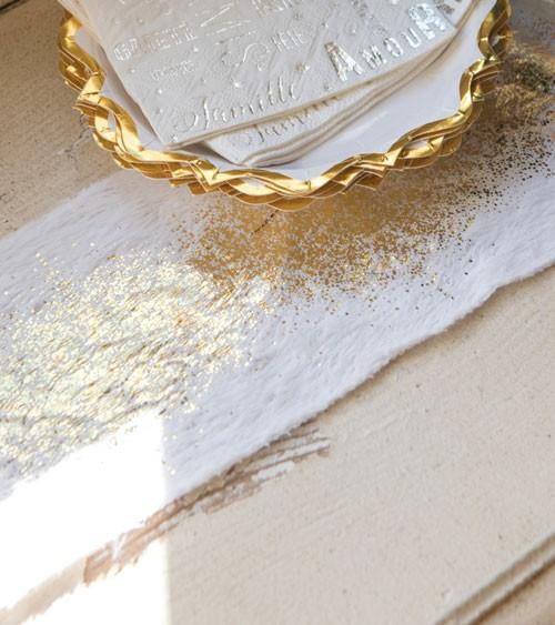 Tischband mit Webpelz und Metallic-Print - weiß & gold - 14 cm x 3 m