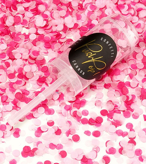 Konfetti Push-Pop-Kanone - Farbmix Pink und Rosa