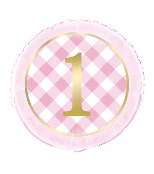 "Folienballon ""1. Geburtstag - Vichy Karo"" - rosa - 46 cm"