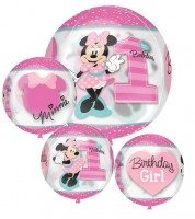 "Kugel-Folienballon ""Minnie 1st Birthday"""
