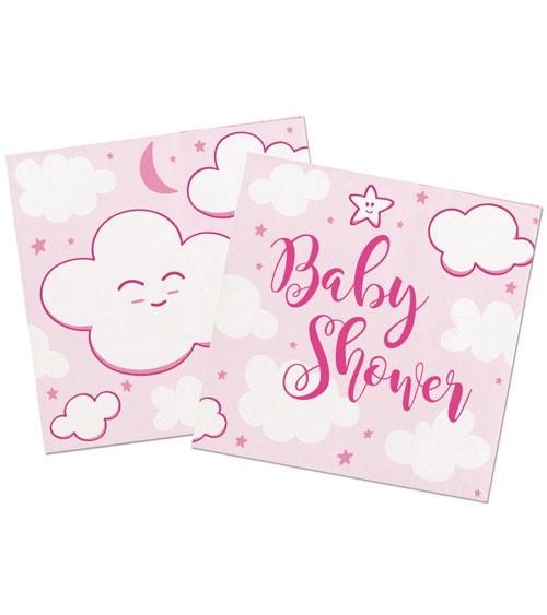 """Cocktail-Servietten """"Wolken Baby Shower"""" - rosa - 20 Stück"""
