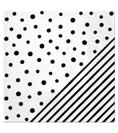 "Servietten ""Dots and Stripes"" - schwarz - 20 Stück"