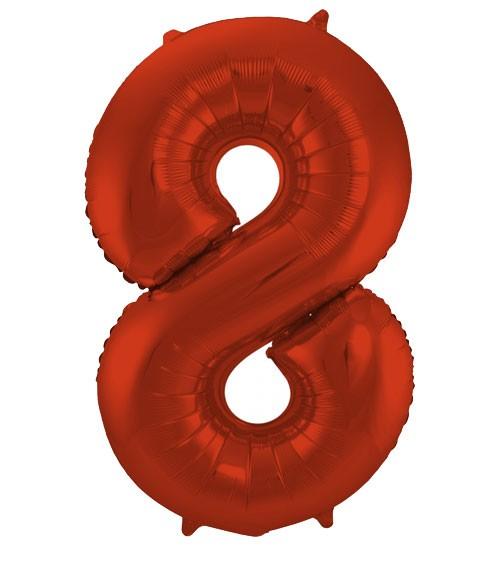 """Zahl-Folienballon """"8"""" - matt rot - 86 cm"""