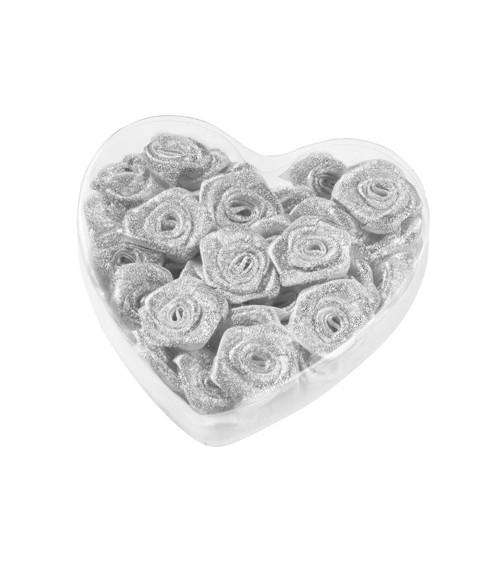 Satin-Rosen zum Streuen in Herzbox - silber - 2 cm - 30 Stück