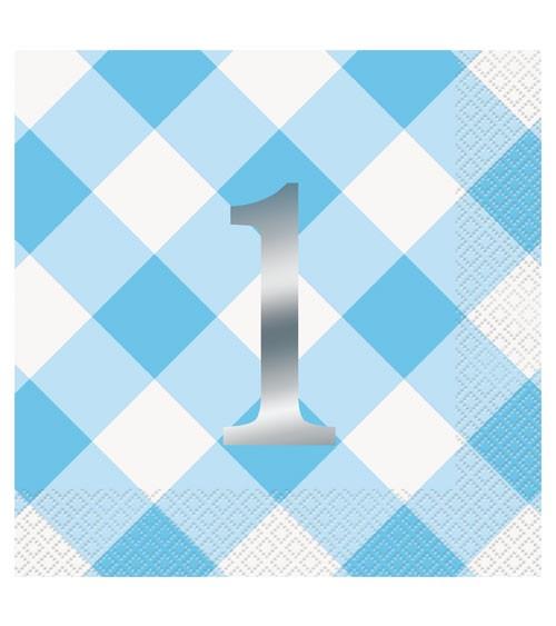"""Servietten """"1. Geburtstag - Vichy Karo"""" - blau - 16 Stück"""