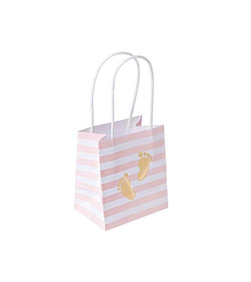 """Gastgeschenktüten aus Papier """"Babyfüßchen"""" - rosa & gold - 6 Stück"""