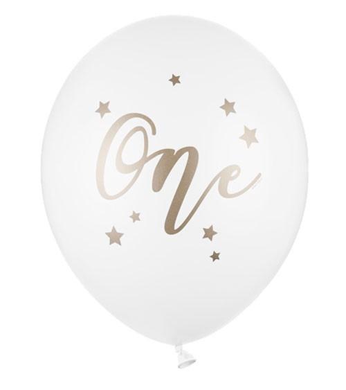 """Luftballons """"One"""" - weiß, gold - 50 Stück"""