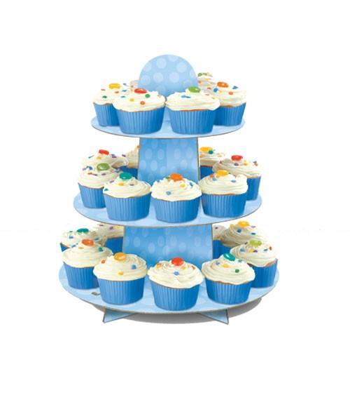 Cupcake-Ständer mit Punkten - hellblau