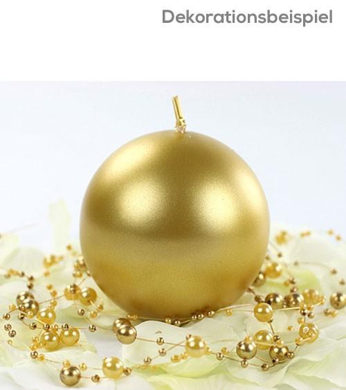 Kugelkerzen - gold metallic - 8 cm - 6 Stück