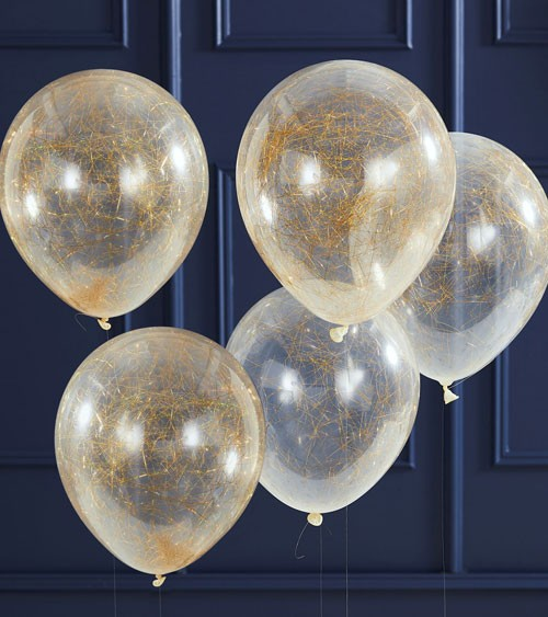 Transparente Ballons mit Engelshaar - gold - 5 Stück