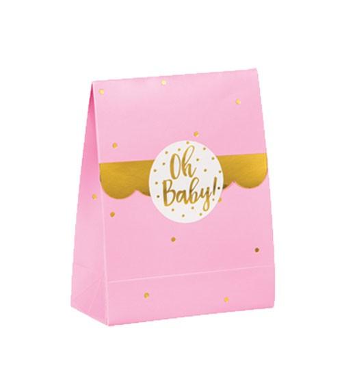 """Geschenkboxen """"Oh Baby"""" mit Sticker - rosa & gold - 8 Stück"""