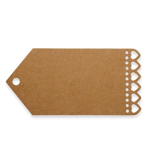 Breite Geschenkanhänger mit Herzen - Kraftpapier - 10 Stück