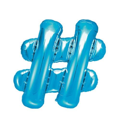 "Folienballon Zeichen ""#"" - blau - 35 cm"