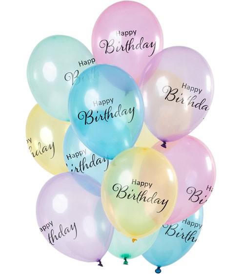 "Luftballon-Set ""Happy Birthday"" - Pastell transparent - 12-teilig"