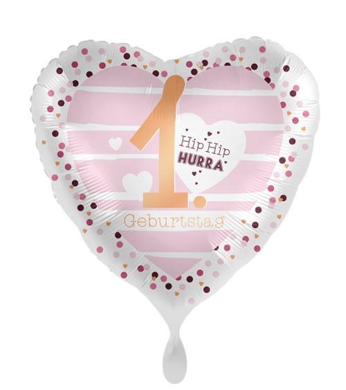 "Herz-Folienballon ""Hearts"" - 1. Geburtstag"