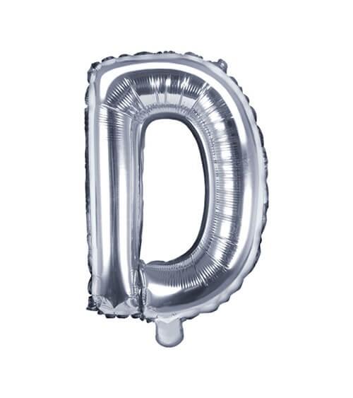 """Folienballon Buchstabe """"D"""" - silber - 35 cm"""