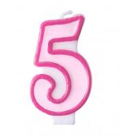 """Geburtstagskerze """"5"""" - rosa/pink"""