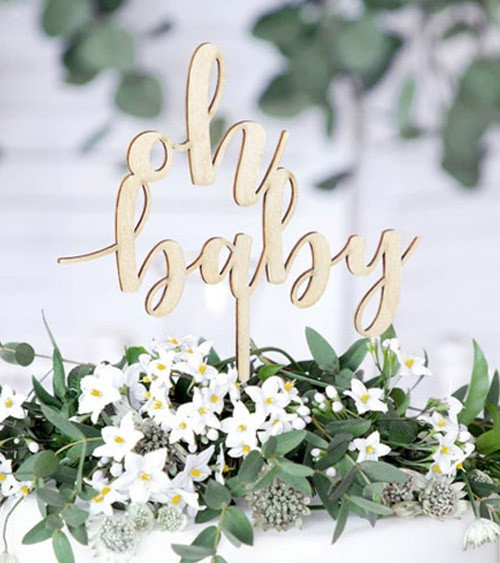 """Cake Topper aus Holz """"Oh Baby"""""""