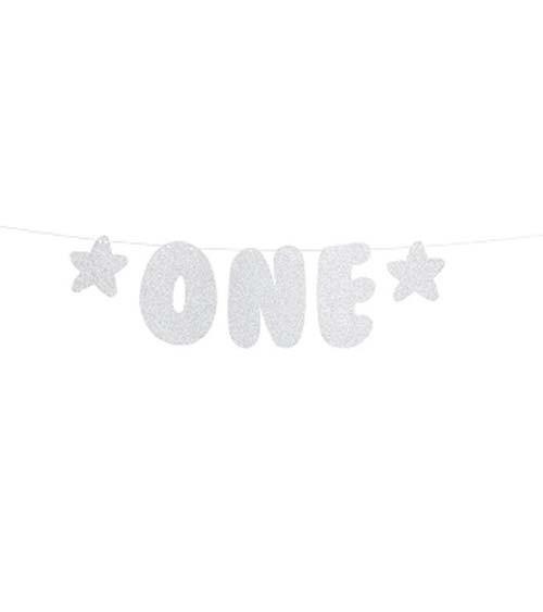 "DIY-Girlande ""One"" - glitter silber - 50 cm"