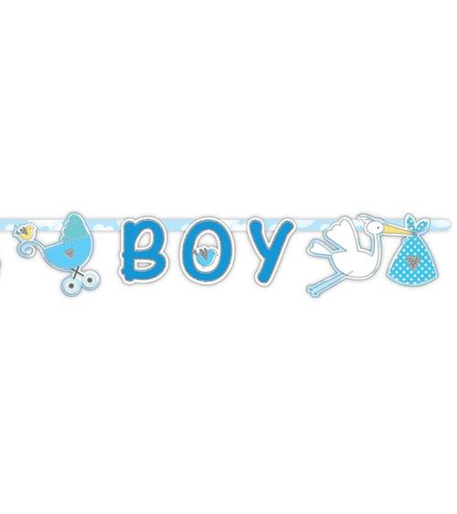 """Schriftzuggirlande mit Storch """"It's a Boy"""" - 1,7 m"""