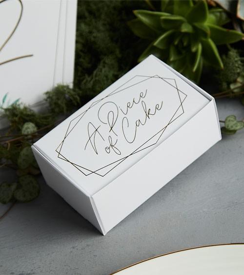 """Kuchenboxen """"A Piece of Cake"""" - weiß, gold - 10 Stück"""