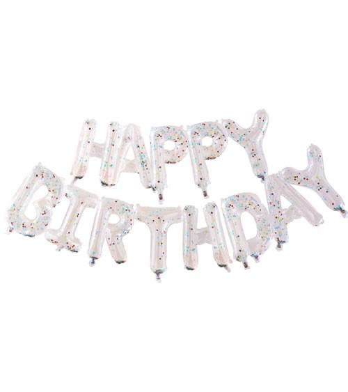 Transparente Happy Birthday Folienballons mit Konfetti