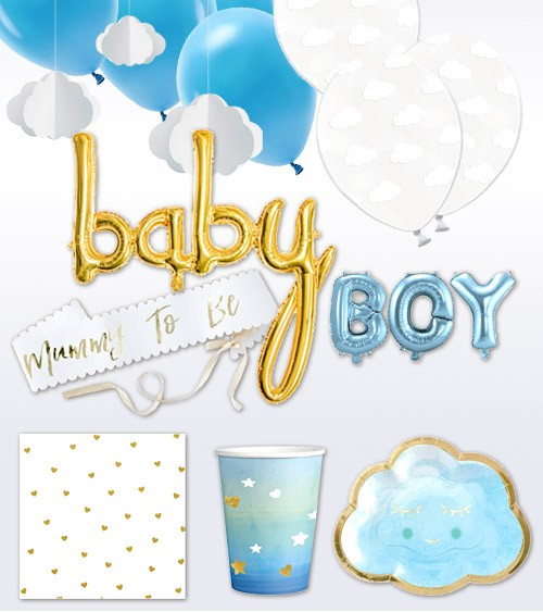 "Babyparty Deko-Set ""Baby Wolke"" 58-teilig - hellblau"