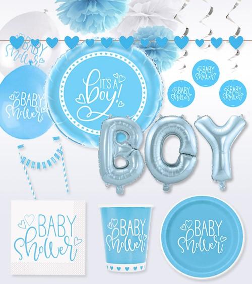 "Deko-Set ""Baby Shower"" - blau - 54-teilig"