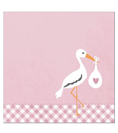 """Servietten """"Love Stork"""" - rosa - 20 Stück"""