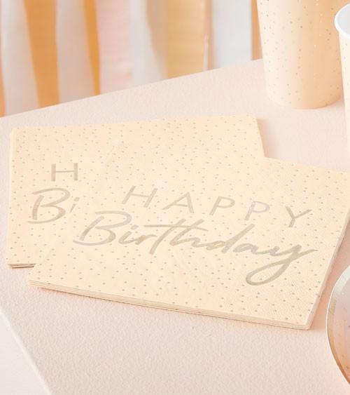 """Servietten """"Peach Dotty"""" - Happy Birthday - 16 Stück"""