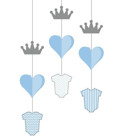 Hängedeko mit Babybody, Krone & Herz - hellblau, silber - 3 Stück