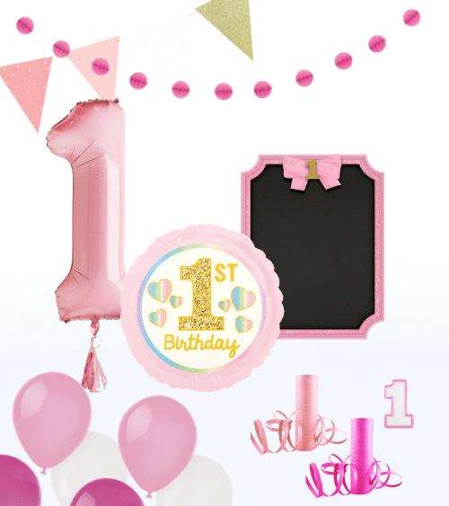 Foto-Set 1. Geburtstag Mädchen - 16-teilig