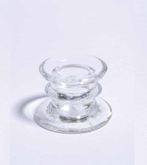 Stabkerzenhalter aus Glas - transparent - 4 cm