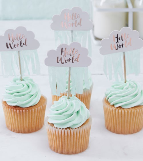 "Cupcake-Topper ""Hello World"" - 10 Stück"
