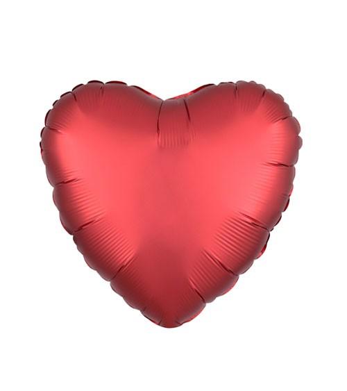 "Herz-Folienballon ""Satin Luxe"" - rot - 43 cm"