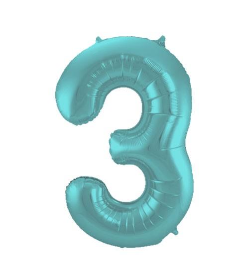 "Zahl-Folienballon ""3"" - matt pastel mint - 86 cm"