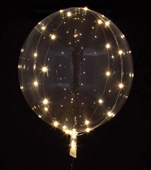 Leuchtender Kugelballon mit LED - weiß - 45 cm