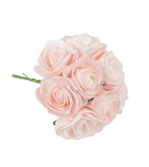 Künstliches Rosen-Bouquet mit 8 Blüten - rosa