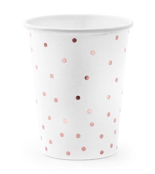 Pappbecher mit rosegoldenen Punkten - 6 Stück