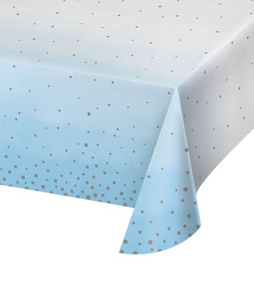 """Papier-Tischdecke """"Hellblau und Silber"""" - 137 x 259 cm"""